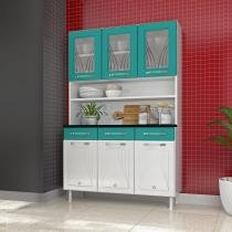 Kit Cozinha 3 Portas Vidro 3 Gavetas Telasul Star - Branco com Verde - Telasul