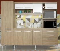 Kit Cozinha Bruxelas 10 Portas e 2 Gavetas Casamia Carvalho/Branco -