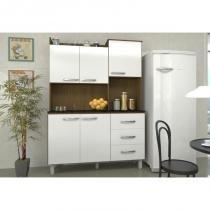 Kit Cozinha Compacta 05 Portas Cris Ipê/Branco/Branco - Luciane -