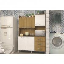 Kit Cozinha Compacta 05 Portas Cris Ipê/Branco - Luciane -