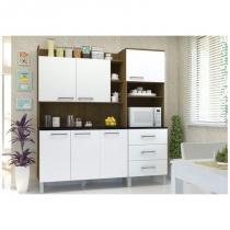 Kit Cozinha Compacta 06 Portas Laila Ipê/Branco - Luciane -