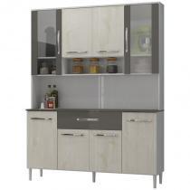Kit Cozinha Compacta 08 Portas Cancun Branco/Aspen/Canela - MPdecor -
