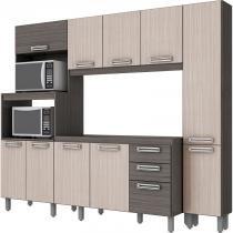 Kit Cozinha Compacta 101 Briz com Paneleiro Gris/Palha - Sem Tampo/Cuba - Henn