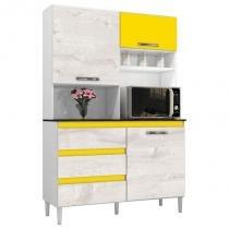 Kit Cozinha Compacta 3 Portas Florença Smart Branco/Aspen/Amarelo - MPdecor -