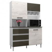 Kit Cozinha Compacta 3 Portas Florença Smart Branco/Aspen/Canela - MPdecor -