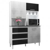 Kit Cozinha Compacta 3 Portas Florença Smart Branco/Gelo/Negro - MPdecor -