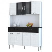 Kit Cozinha Compacta Armário Pan 08 Portas Branco com Linho Branco e CP Linho Preto - Kits Paraná -
