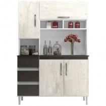 Kit Cozinha Compacta Sofia 4 Portas Branco/Aspen/Canela - MPdecor -