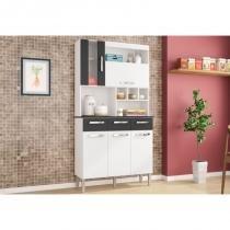 Kit Cozinha Melissa Compacta 05 Portas Branco/Preto - Poquema -