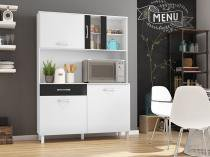Kit Cozinha Viena Plus 1200 Branco com Preto - Madine Móveis -