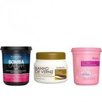 Kit Cronograma Capilar Banho de Verniz, Dr.Hair Máscara e Bomba Capilar Máscara 250g For Beauty - For Beauty