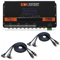 Kit Crossover Equalizador Processador de Áudio Digital Expert PX-1 + 2 Cabos RCA 4 Machos 4mm - Prime