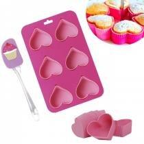 Kit Cupcake Assadeira + 6 Forminhas Coracao de Silicone + 1 Espatula  Mor -
