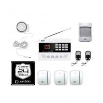 Kit de alarme sem fio branco Discadora Guardião ON -