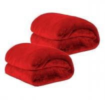Kit de Cobertores Casal Queen Manta de Microfibra 02 Peças (Toque Aveludado) - Vermelho - Guilherme enxovais