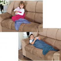 Kit de Cobertores Infantis Cauda Sereia e Cauda Tubarão Saco de Dormir 02 Peças (Toque Aveludado) - Pink/Azul - Priori enxovais