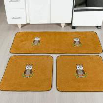 Kit de cozinha 3 peças coruja caramelo - Dourados enxovais