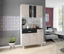 Kit de Cozinha Atenas Branco Elmo Preto 6 portas - Madine Móveis -