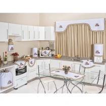 Kit de Cozinha c/ Cortina Goodness 10 peças Bordado - Pote de Mel Caqui - Smaniotto