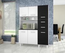 Kit de Cozinha Siena Branco Preto - Madine Móveis -