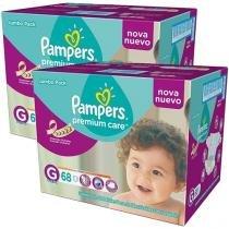 Kit de Fralda Pampers Premium Care G - 2 Pacotes com 68 Unidades Cada