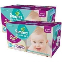 Kit de Fralda Pampers Premium Care M - 2 Pacotes com 84 Unidades Cada