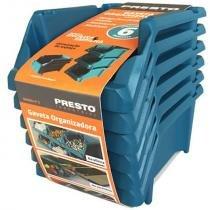 Kit de gavetas empilháveis presto n 3, 6 peças, azul - 11902a -