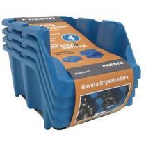 Kit de gavetas empilháveis presto n 5, 4 peças, azul - 12516a -