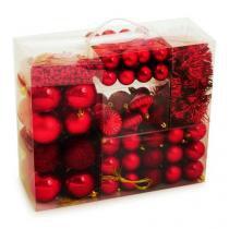 KIT de Luxo Bolas, Festões e Cordões Vermelho - 105 Peças - Cromus