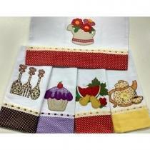 Kit de Panos de Prato com 05 Peças 70cm x 46cm cada Bordado - Mix - Ingrid bordados