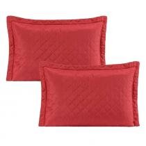 Kit de Portas Travesseiros MR Microfibra 02 Peças Matelado - Vermelho - Paulo cezar enxovais