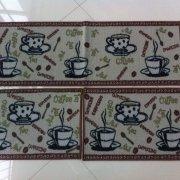 Kit de tapetes de cozinha 3 peças antiderrapante café - Rozac