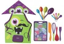 Kit de Utensílios para Cozinha 16 peças Monster Kids Infantil 23799-087 Tramontina - Verde -