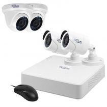 Kit de Vigilância Vizzion Vz-KIT0804 Dvr + 4 Câmeras 8Canais HD Tvi 720p - Branco -