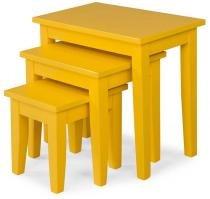 Kit Decor Com 3 Mesas Cor Verniz  Amarelo - 23124 - Sun House