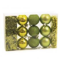 Kit Decoração Árvore De Natal Bola Festão Cordão 11 Pçs Verde - Cromus