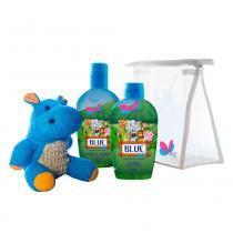Kit Delikad Kids Safari Hyppo Blue - Colônia + Sabonete Líquido + Bucha -