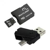 Kit Dual OTG 4X1 Cartao Micro SD 16GB + Adaptador+pen Drive Dual MC131 - Multilaser