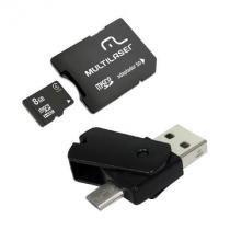 Kit Dual OTG 4X1 Cartao Micro SD 8GB + Adaptador+pen Drive Dual MC130 - Multilaser
