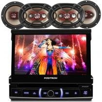kit Dvd Player retratil automotivo Positron com bluetooth + Kit alto Falante Bravox - Pósitron