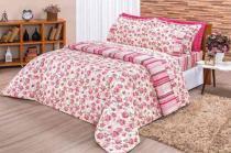 Kit Edredom 180 Fios Queen Requinte  03 Peças - Pink Vermelho - Bia Enxovais