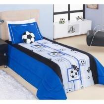 Kit Edredom Solteiro Soccer (Futebol) 03 Peças Estampado com Almofada - Azul - Aquarela