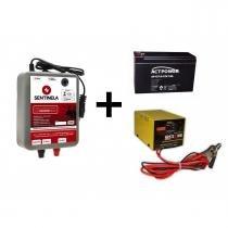 Kit Eletrificador Cerca Rural 50.000 Bivolt + Bateria 7ah Vrla + Carregador 3ah - Sentinela