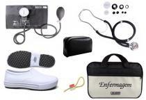 Kit Enfermagem: Aparelho de Pressão com Estetoscópio Rappaport Preto Premium + Sapato Branco + Garrote JRMED + Bolsa - Várias
