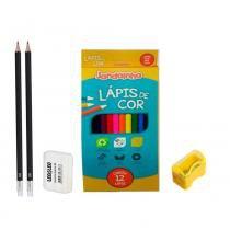 Kit Escola: 2 Lápis + Apontador + Borracha + Lápis Colorido - Art school