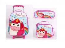 Kit escolar unicornio fabulous mochilete lancheira e estojo dmw -