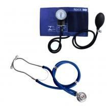 Kit Esfigmomanômetro + Estetoscópio Rappaport Premium - Azul -
