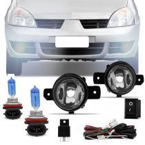 Kit Farol de Milha Clio 2003 a 2012 Auxiliar Neblina com Par Lâmpadas Super Branca H11 6000K - Prime