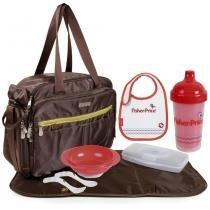 Kit fisher-price bolsa maternidade baby bag g carry all + kit alimentação - Fisher price