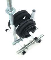 Kit Fitness com Suporte + 30 Kg de Anilhas com Barras - Sepo - pesos